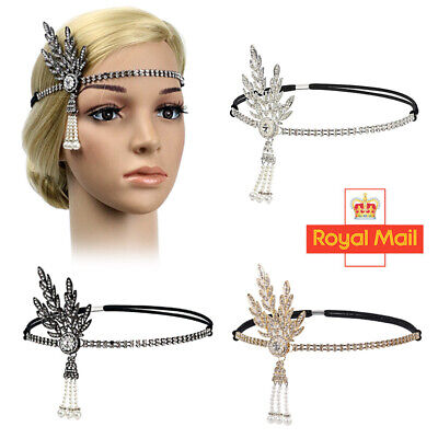 Flapper 1920s Great Gatsby Headband Charleston Pearl Party Bridal Lady Headpiece