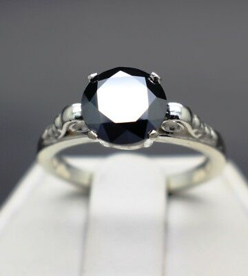 2.35cts 8.42mm Real Natural Black Diamond 10k White Gold Ring & $2225 Value