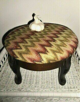 Vintage Arts and Crafts Bargello Flame Stitch Finished Needlepoint Foot Stool