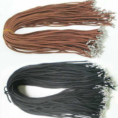 10pcs Suede Leather String Necklace Cord Jewelry Making DIY Craft Black Brown UK