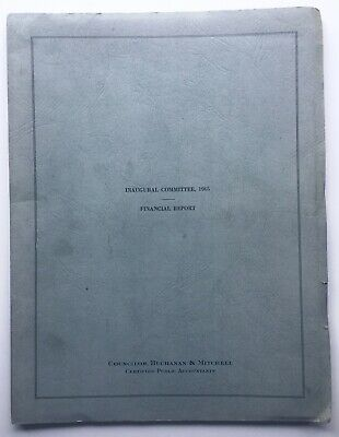 Lyndon Johnson Official Financial Report 1965 Inaugural Committee