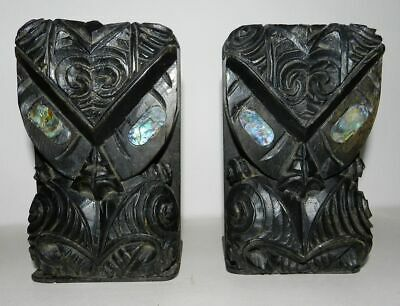 New Zealand / Maori - 2 X Old Hand Carved Tiki Bookends