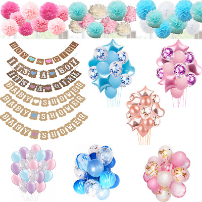 Baby Shower Banner Boy Girl  Pink Blue Lilac decorations Bunting Pompoms Balloon