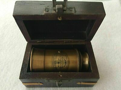 Solid Victorian Brass Telescope W/Box Antique Finish/Nautical Maritime Spyglass