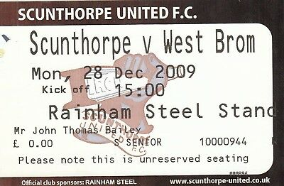 Ticket - Scunthorpe United v West Bromwich Albion 28.12.09