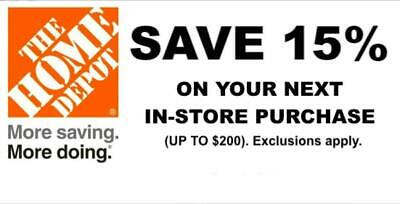 ONE 1X 15% OFF Home Depot Coupon - In store ONLY Save up to $200 - Fast Shipment