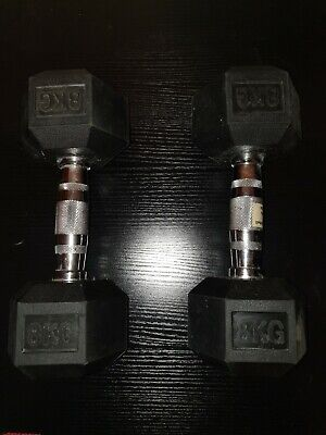 2X 8KG Rubber Encased Dumbbell Hex Weights Gym Fitness/Workout/Weight Lifting