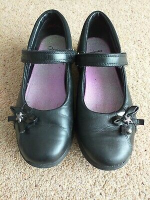 Girls Clarks School Shoes 2H Black Leather Good Used Cond