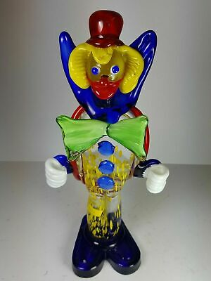 "Vintage Murano Art Glass Clown / Wizard Figurine 11"" Tall - Green Bow Tie"