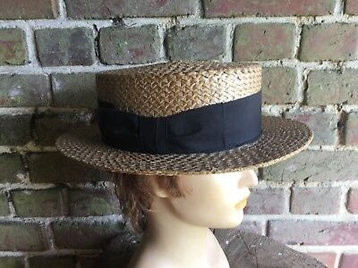 ANTIQUE  VINTAGE FRENCH STRAW  BOATERS HAT APP 58 cm