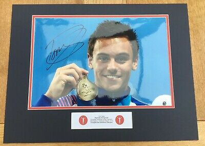 TOM DALEY - DIVING - SPLASH - ORIGINAL SIGNED PHOTO MOUNT - 16x12