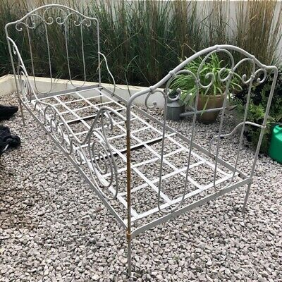 19thc french wrought iron day bed, grey, castors, vgc, ideal as sofa or bed.