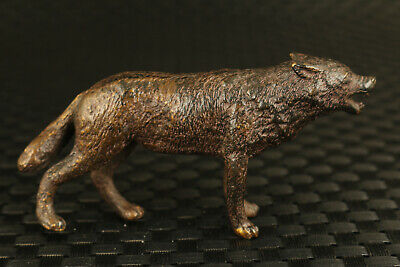 unique  chinese old bronze hand casting wolf statue collectable decoration