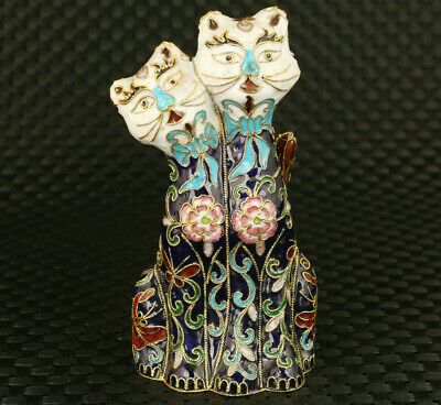 chinese pair old cloisonne hand painting lovely cat statue home decoration gift