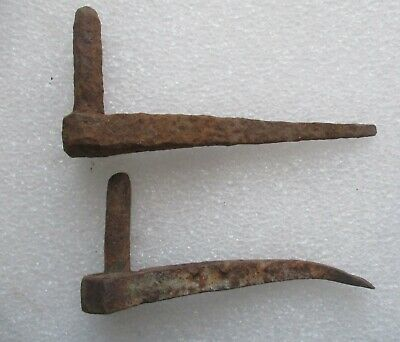"""2 Early Antique Primitive Blacksmith Hand Forged Strap Hinge Pintles 6"""""""