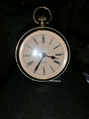 West German Brass Quartz Alarm Clock In The Shape Of Pocket Watch With Roman Nos