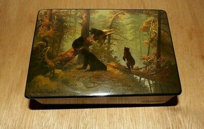 Aft. Morning in the Pine Forest U.S.S.R Hand Painted Lacquer Box Bears Russian