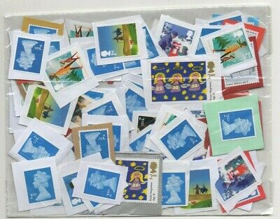 GB SECOND (2nd) CLASS  x 100 UNFRANKED STAMPS. FACE VALUE = £61