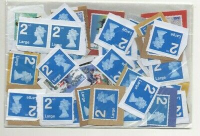 GB SECOND (2nd) CLASS LARGE x 45 UNFRANKED STAMPS. FACE VALUE = £37.35