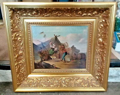 Antique Oil Painting of Dancers on Canvas in Heavy Gold Leaf Frame Unsigned