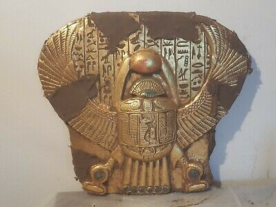 Rare Antique Ancient Egyptian Stela Winged Scarab Good Luck Hapy life1840-1750BC