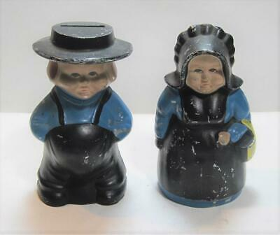 Pair of Vintage Cast Iron Amish Man & Woman Coin Banks