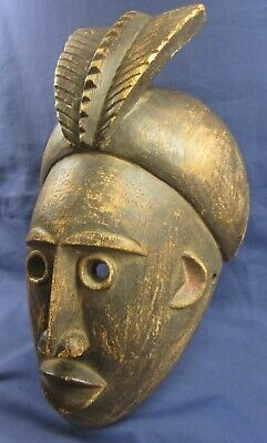 African antique hand carved wooden tribal face mask 1