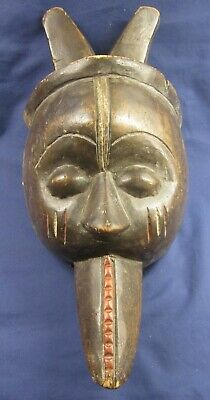 African antique hand carved wooden tribal face mask 1 of 2