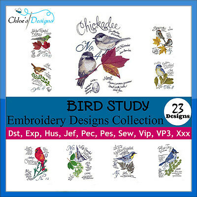 Bird Study Collection Machine Embroidery Designs On Cd Usb Christmas
