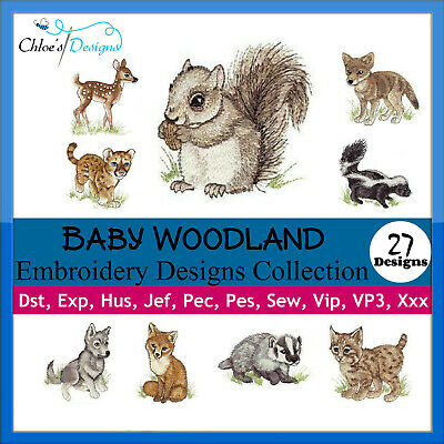 Baby Woodland Animals Collection Machine Embroidery Designs On Cd Usb Pes Jef
