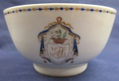 Pair antique Chinese 18th / 19th century Heraldic porcelain bowls AF