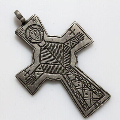 A Perfect Byzantine Silver Cross Pendant Depicting A Saint-Carved-Ca 500-1000 Ad
