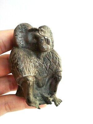 Egyptian Style Ancient Baboon Thoth Rare Figurine Silver Statue Antique Unique