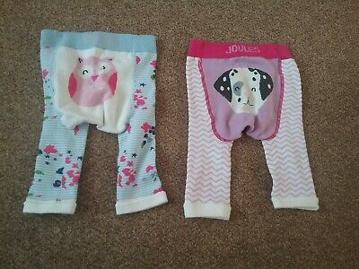 Joules baby girls Lively character leggings 0-6 months pink blue white dog owl