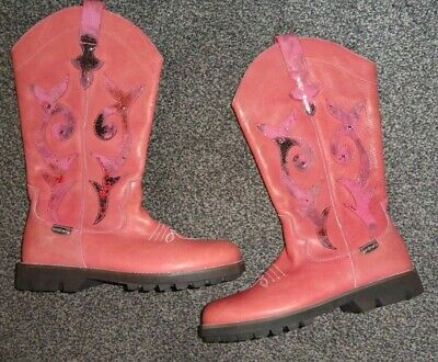 Pink Leather Cowboy Boots  Euro 35  Uk 2 Rondinella Made In Italy
