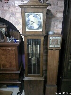 antique oak longcase grandfather clock weight driven Westminster chimes