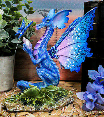 Amy Brown Indigo Fairy Dragon With Butterfly Holding Seashell Figurine Decor