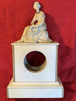 Antique French Slate 8 Day Mantle Clock Case W Spelter Statue Project
