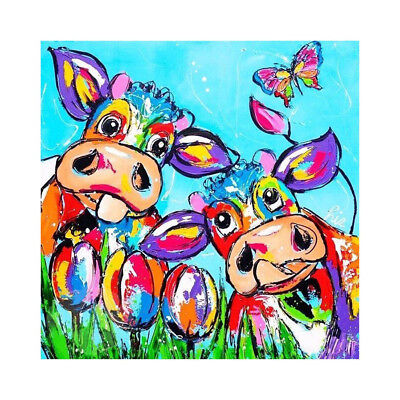 DIY 5D Diamond Embroidery Painting color painting cows Cross Stitch №<