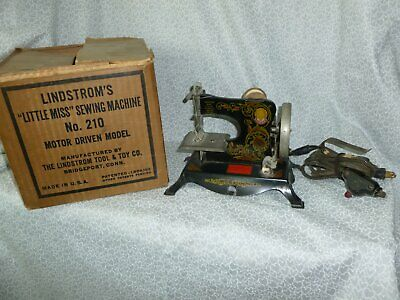 "Antique ""LITTLE MISS* Toy Miniature Sewing Machine Early Electric Motor Driven"