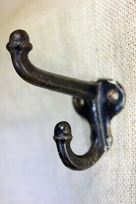 "old Coat hook farm school house rustic chipped black paint 2 3/4"" weathered"