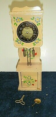 "Antique/Vintage Miniature Wood Grandfather Clock With Key Germany 8"" Tall"