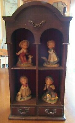 Set Of 4 Napco Ware Figurines Boy Girl Dog Cat & Wooden Display Wall Curio Case