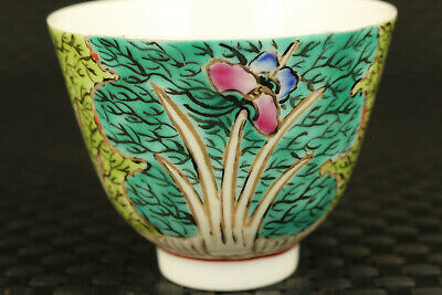 Chinese porcelain hand painted grass butterfly statue tea cup bowl table deco