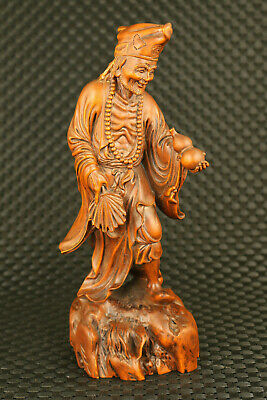 chinese old boxwood hand carved mud buddha jigong statue figure