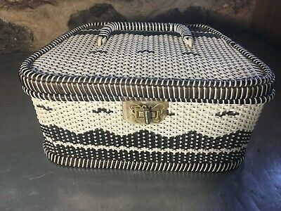 Vintage Retro Black and White Wicker Sewing Basket