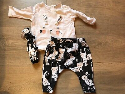 NEXT Baby Girls Bunny Rabbit Outfit, Top/Leggings/Headband - Up To 3 Months/0-3