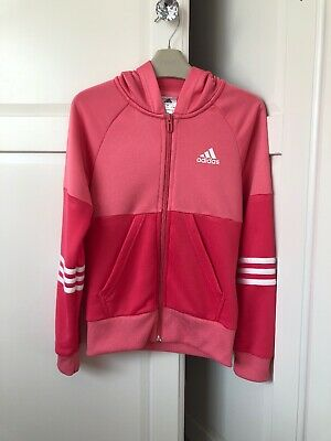 Girls Pink Adidas Zip Hoodie, Age 9-10 Years