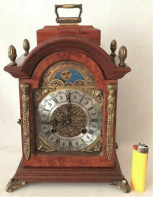 Dutch Mantel Clock Shelf Hermle Moon Dial 8 Day Wind Up 1978 Double Bells