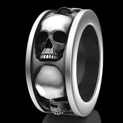 Hip Hop Men's Stainless Steel Skull Punk Gothic Rings Jewelry Engagement Ri Q3T3